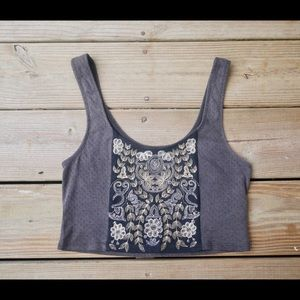 Urban Outfitters Grey Embroidered Crop Top